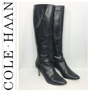 Cole Haan Carlyle Black Leather Knee Boots. Size 8
